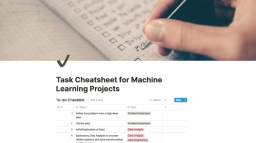Task Cheatsheet for Almost Every Machine Learning Project