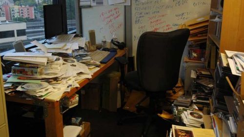 Messy researchers office