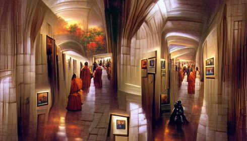 People in a hallway