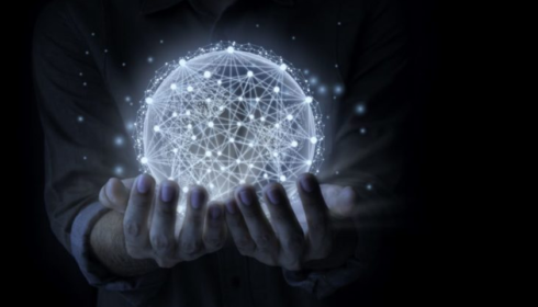Person holding a network ball