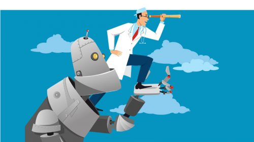 Robot and doctor with telescope