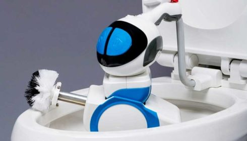 Toilet cleaning robot