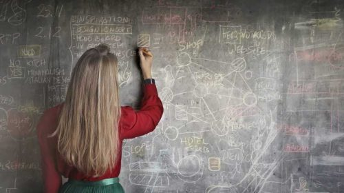 Woman at a blackboard